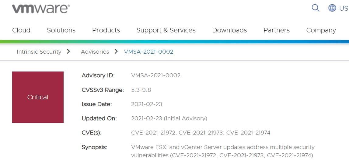 VMware vulnerability a major security weakness